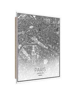 Tableau bois Paris city plan