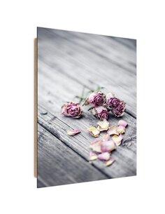 Tableau bois Dried roses
