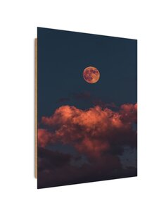 Tableau bois Full moon above the clouds