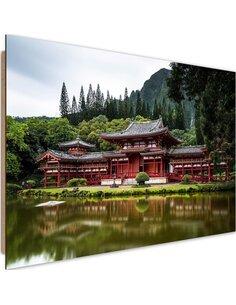 Tableau bois Japanese temple