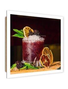 Tableau bois Red drink and lemon slices