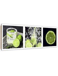 Tableau bois set with green lemon
