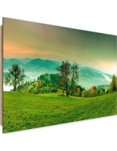 Tableau bois Hills with autumn trees 4