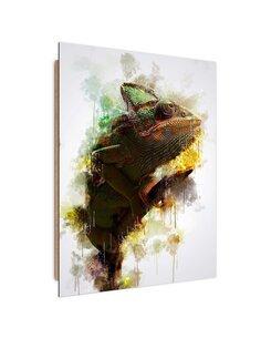Tableau bois chameleon on a branch