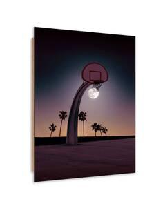 Tableau bois basket sports moon