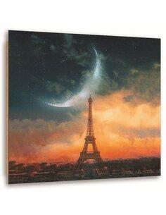 Tableau bois moon over Paris