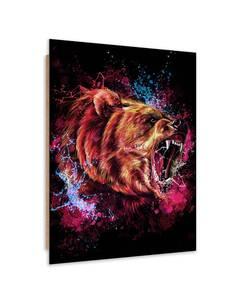 Tableau bois animal nature bear