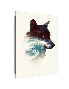 Tableau bois Wolf and waves