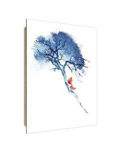 Tableau bois fox on the tree