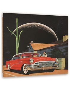 Tableau bois Red car and the moon