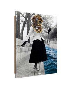 Tableau bois Female diver abstraction