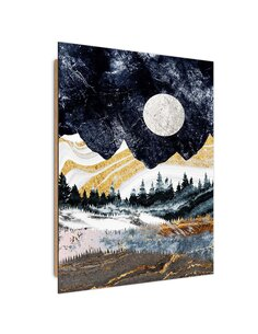 Tableau bois Full moon over the mountains