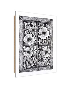 Tableau bois sketch flowers outside the window