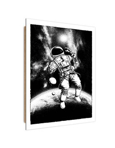 Tableau bois Black - white cosmonaut