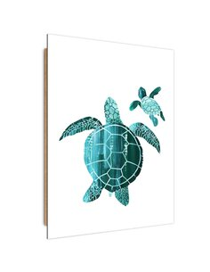 Tableau bois Sea Turtles