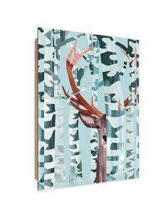 Tableau bois Deer in the birch forest