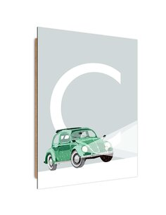Tableau bois Car and letter C