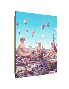 Tableau bois balloons over Paris