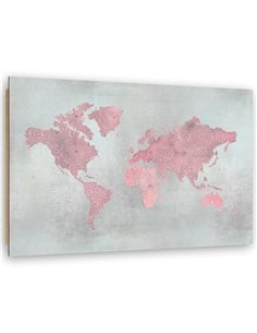 Tableau bois Map of the World