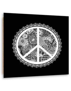 Tableau bois peace symbol design abstraction