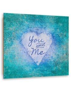 Tableau bois Blue heart and inscription