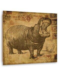 Tableau bois African hippo