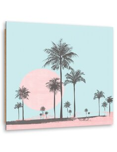 Tableau bois Abstract palm trees