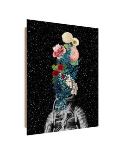 Tableau bois Cosmonaut and flowers collage
