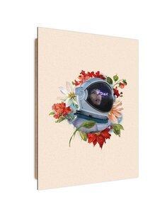 Tableau bois Astronaut and flowers