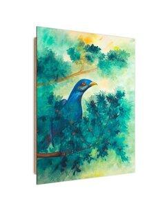 Tableau bois bird on a branch