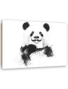 Tableau bois Panda with mustache
