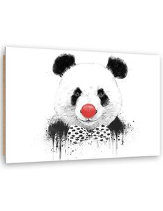 Tableau bois Panda clown on a white background