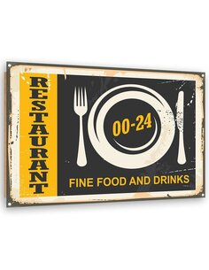 Tableau bois Retro - restaurant 1