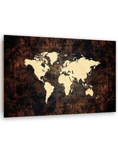 Tableau bois Brown world map