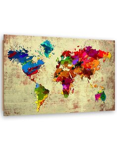 Tableau bois world map in color