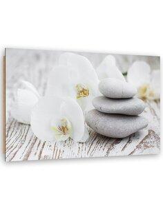 Tableau bois Orchids and zen stones