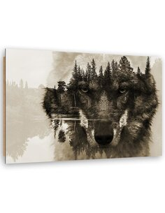 Tableau bois wolf on a background of lake
