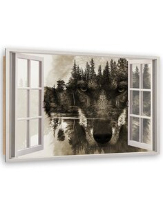 Tableau bois Window abstraction wolf