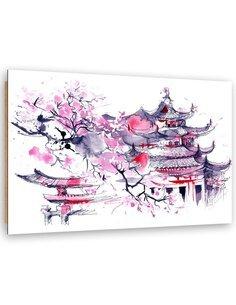 Tableau bois Japan Watercolor