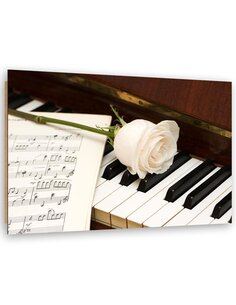 Tableau bois Rose on piano