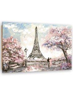 Tableau bois the Eiffel Tower in spring