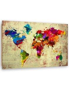 Tableau bois Colorful world map