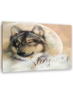 Tableau bois Stay Wild Wolf