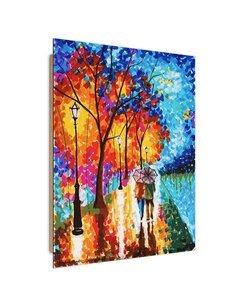 Tableau bois painting autumn walk