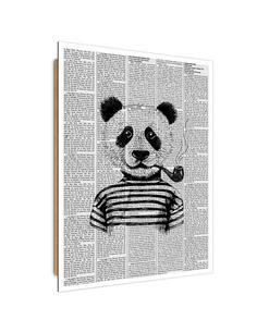 Tableau bois illustration pandas in the newspaper