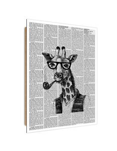 Tableau bois giraffe illustration in a newspaper