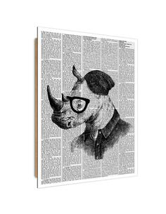 Tableau bois rhino portrait abstraction