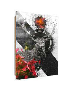 Tableau bois abstract geometry deer