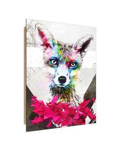 Tableau bois fox pink geometry