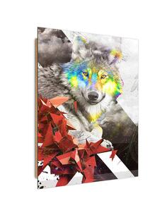 Tableau bois the red wolf geometry
